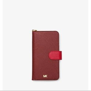 🆕MICHAEL KORS Leather wallet Phone Case iPhone XR
